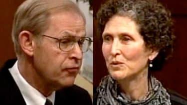 Incumbent Wisconsin Supreme Court Justice David Prosser (left) faces liberal challenger JoAnne Kloppenburg (right).