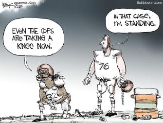 Editorial Cartoon U.S. cops taking knee racism