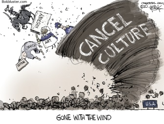 Editorial Cartoon U.S. Gone with the wind cancel culture