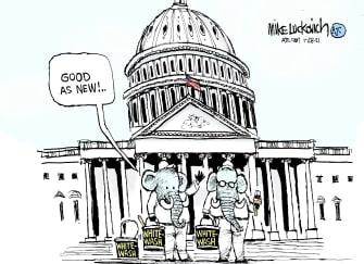Political Cartoon U.S. Capitol Riot GOP whitewash