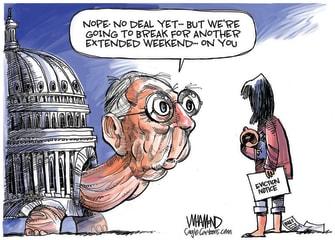 Political Cartoon U.S. Mitch McConnell coronavirus relief bill