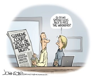 Political Cartoon U.S. Supreme Court Roe V. Wade abortion rights case rulings overturn