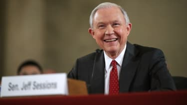 Jeff Sessions speaks before the Senate Judiciary Committee