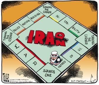 Political Cartoon U.S. Trump Iran Iraq Monopoly Board
