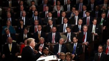President Trump speaks to the joint session of Congress