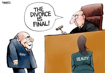 Political Cartoon U.S. Giuliani Reality Divorce Finalized