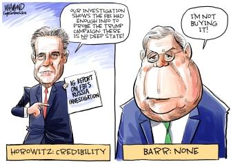 Political Cartoon U.S. Horowitz Report No Deep State Barr Disbelief