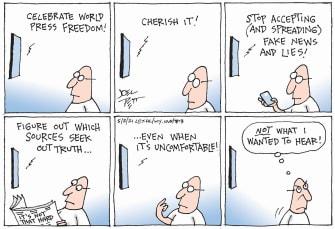 Editorial Cartoon U.S. press freedom truth