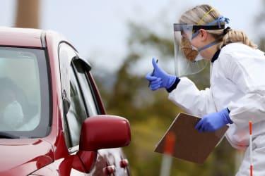 A drive-thru coronavirus testing site in Massachusetts.