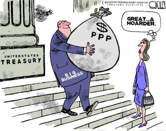 Editorial Cartoon U.S. PPP small big business