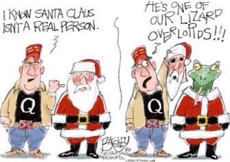 Political Cartoon U.S. Qanon Santa Claus