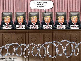 Political Cartoon U.S. Trump SCOTUS wall