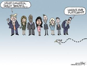 Political Cartoon U.S. Trump RNC platform