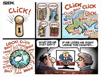 Political Cartoon U.S. Trump leave country
