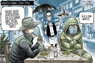 Editorial Cartoon U.S. COVID outdoor dining