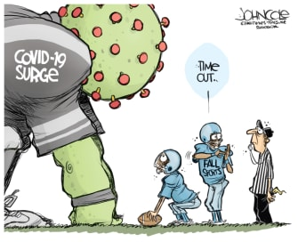 Editorial Cartoon U.S. sports football NFL coronavirus surge