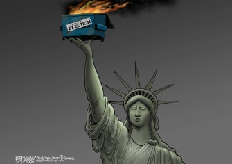 Political cartoon U.S. 2016 election Hillary Clinton Donald Trump garbage fire