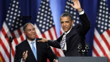 President Obama with Massachusetts Gov. Deval Patrick at a campaign fundraising event in Boston