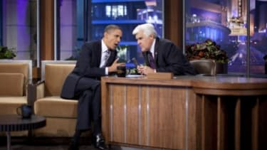 President Obama made sure to lighten the mood during his interview with Jay Leno Tuesday by addressing his strict no-Kardashian policy with his daughters.