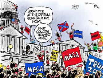 Political Cartoon U.S. Trump MAGA Capitol riots police response