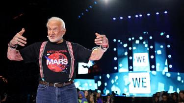 Buzz Aldrin speaks at WE Day Minnesota in 2016.