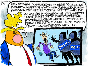 Political Cartoon U.S. Trump Buffalo protester antifa tweet