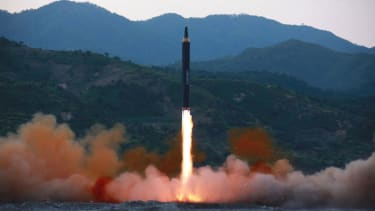 North Korea fires a ballistic missile.