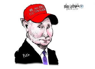 Political Cartoon U.S. Trump Vladimir Putin 2016 election 2020 election interference russian hacking