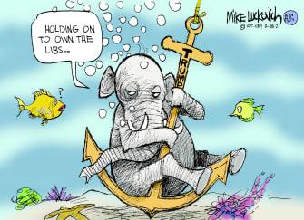 Political Cartoon U.S. trump gop liberals
