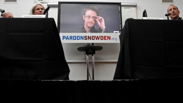 Edward Snowden speaks via video during a press conference in New York City on Sept. 14.