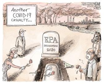 Editorial Cartoon U.S. EPA regulations funeral