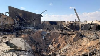 Iraq military base after attack.