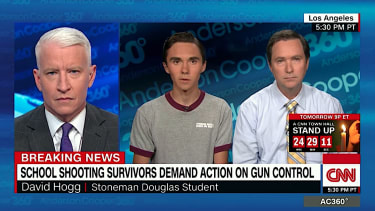 David Hogg talks conspiracy theories with Anderson Cooper