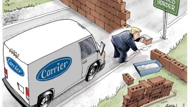 Political cartoon U.S. Donald Trump border wall