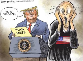 Political Cartoon U.S. Trump Iran Mess The Scream
