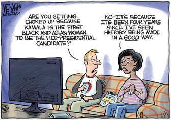 Political Cartoon U.S. Kamala Harris vice president