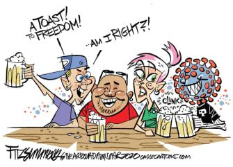 Editorial Cartoon U.S. coronavirus bar reopening