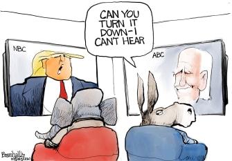 Political Cartoon U.S. Trump Biden town halls