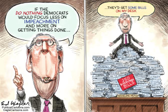 Political Cartoon U.S. Mitch McConnel Trump Impeachment Focus Stacked Bipartisan Bills
