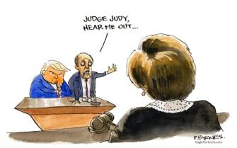 Political Cartoon U.S. Trump Giuliani election lawsuit losses Judge Judy