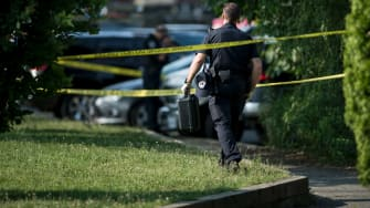 A policeman on the scene of the congressional shooting.