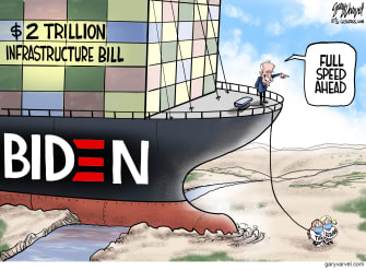 Political Cartoon U.S. biden infrastructure bill ever given ship stuck