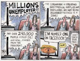 Political Cartoon U.S. Trump Anthony Fauci COVID-19 D-Day patients symptoms headlines