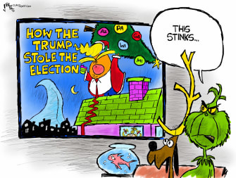 Political Cartoon U.S. Grinch Trump election steal