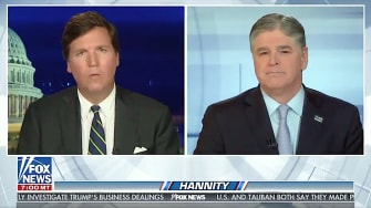 Tucker Carlson and Sean Hannity chat between shows