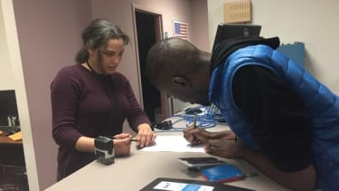 DeRay Mckesson files the forms necessary to run for mayor of Baltimore.