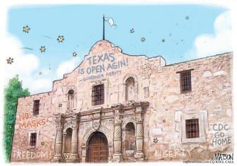 Editorial Cartoon U.S. texas alamo covid