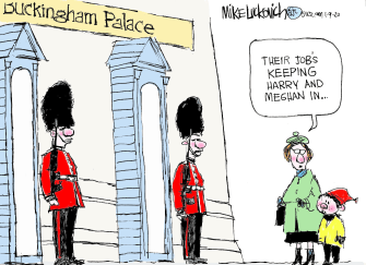 Editorial Cartoon World Buckingham Palace Guards Keeping Harry and Meghan In
