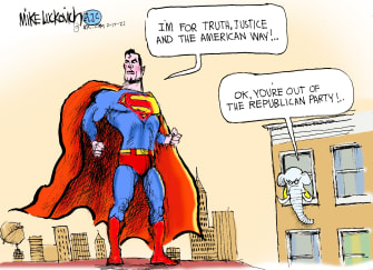 Political Cartoon U.S. gop trump superman