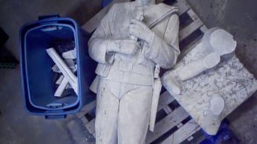 The broken Confederate statue.